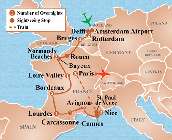 Map Of France And Holland Belgium.Holland France Favorites Tour Itinerary Detail Image